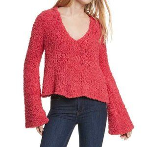 Free People Pink Sand Dune Sweater Fuzzy V Neck